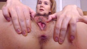 Hairy Pussy And Gaping Asshole Getting Stretched